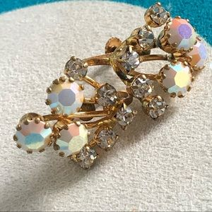 Vintage Austrian Opalescent CZ Gold Earrings